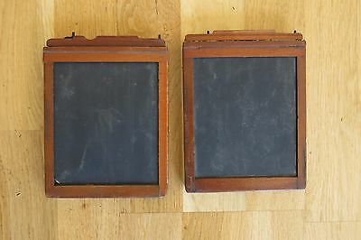 Antique Scovill & Adams 4x5 Wooden Glass Plate Film Holders - Lot of 2