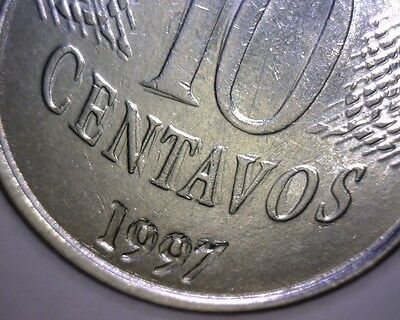 1997 BRAZIL10 CENTAVOS, DOUBLE DIE REVERSE, HUGE DIE CLASH WORLD Error Coin