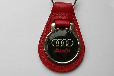 Audi Red Leather Keyring, Key Chain, Key Fob