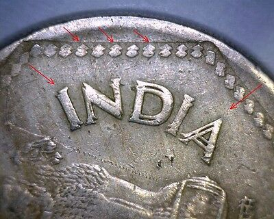 1991 H INDIA 1 RUPEE STRONG DOUBLE DIE OBVERSE  WORLD Error Coin