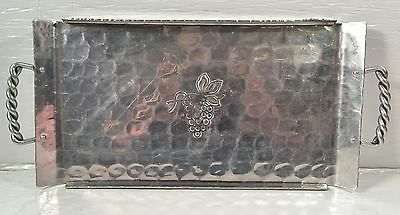 Vintage BW BUENILUM Hammered Aluminum Serving tray w/Twisted Handles Grapes