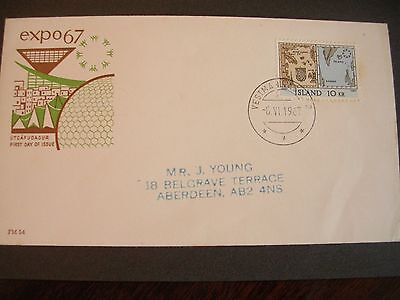 ICELAND -  1967 EXPO 67 - FDC with World Series 10 Kr stamp