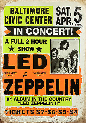 vintage retro style Led Zeppelin poster image metal sign wall door plaque
