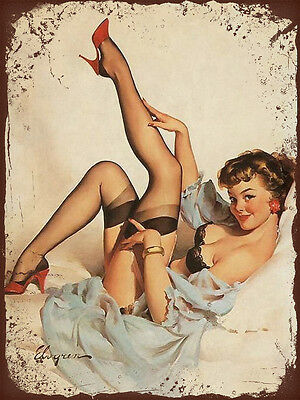 vintage retro style Elvgren sexy pin up stockings image metal sign wall plaque