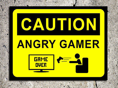 Metal sign humour decorative angry gamer warning funny tin wall door plaque gift