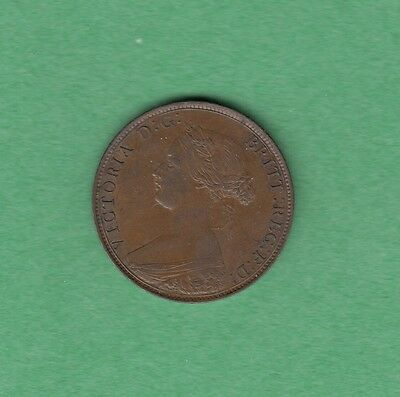 1861 Great Britain 1/2 Penny Coin - Queen Victoria - AU