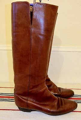 Vintage Brown Knee High Boots  Authentic Leather Size 6 UK Riding 1980s VTG
