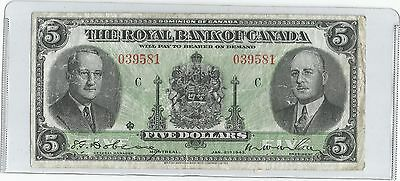 1943 The Royal Bank Of Canada Five Dollar Bank Note From Canada ( Hard To Find )
