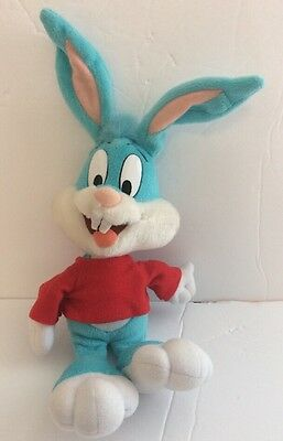 Vintage 90's Buster Bunny Tiny Looney Toons Blue Rabbit/Red Shirt Stuffed Plush