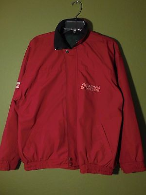 Castrol Motor Oil Advertising Hooded Windbreaker Jacket Red Green Men M/L