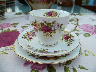 Lovely Vintage Duchess English China Trio Tea Cup Saucer Plate Roses 928