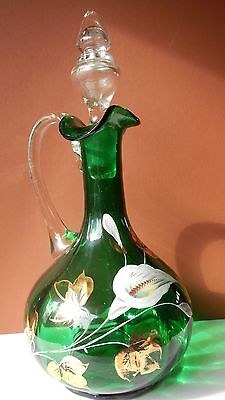 Emerald green glass ribbed decanter; hand painted; blown in mold; applied handle