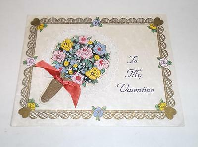 Vintage Valentine Card featuring  - 3D Lace Edged Fan 1930s - To My Valentine