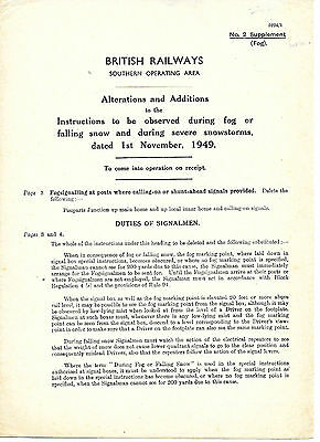 1949 BR supplement FOG falling snow DUTIES OF SIGNALMEN Southern Operating Area