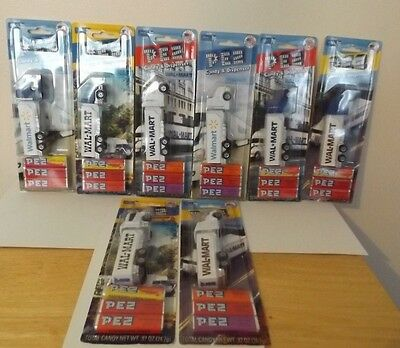 SET of 8 DIFFERENT WAL-MART PEZ TRANSPORT TRUCKS CARDED INDIVIDUALLY 2011