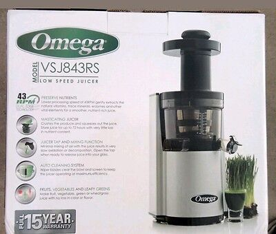BRAND NEW Omega Low Speed Juicer VSJ843RS Vertical Juicing System Silver Round