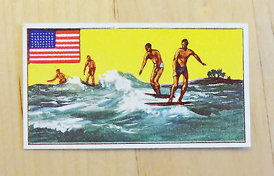 Old Surfing Collectable Card Sports Of Countries No 15 Hawaii Dickson Orde & Co