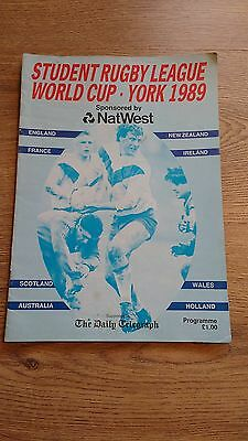 Students Rugby League World Cup 1989 Tournament Programme