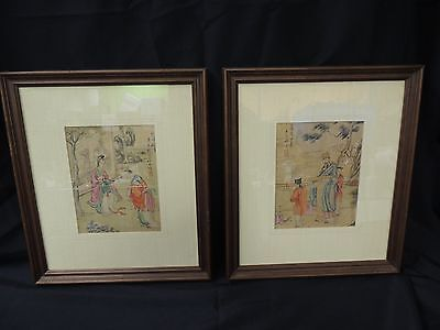 Vintage Asian Japanese Art Silk? Scroll Professionally Mounted In Wooden Frames