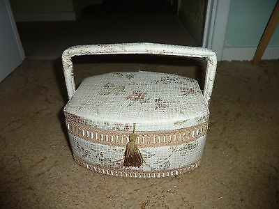 Lovely cream with flowers sewing basket and little handle