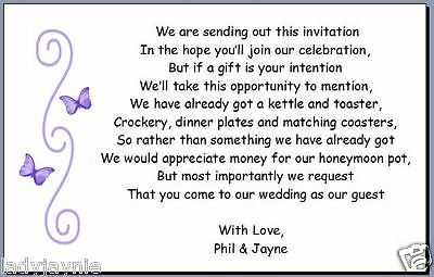 50 Poem Cards Requesting Cash Instead Of Wedding Presents - Butterfly Design