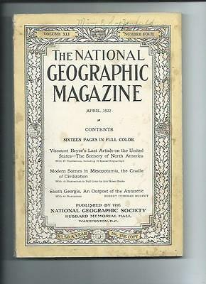 April 1922  National Geographic Magazine-Lots Of Adds And Information