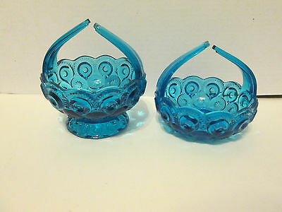 (2) Blue LE Smith Moon & Stars Candy Dishes RARE TWIST Handles (1) FOOTED L@@K!