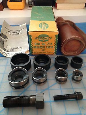 """Greenlee Vintage No. 735 """" New Old Stock""""  Knockout Punch Set 1/2"""" - 1 1/4"""""""