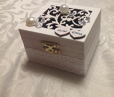 Personalized names wooden white wedding Jewellery ring box with velvet cushion .