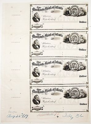 Merchants Bank of Atlanta, Georgia Sheet of 4 Blank Checks [2943.45]