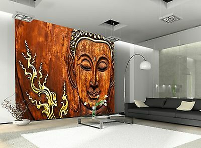 Buddha Wood Carving  Wall Mural Photo Wallpaper GIANT WALL DECOR Paper Poster