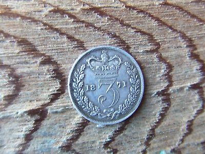 Queen Victoria.   1871, Silver Threepence.  Scarce.  Excellent Condition.
