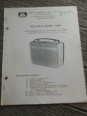 Old Radio Corporation Astor Play gram AMR record  portable record radio bulletin