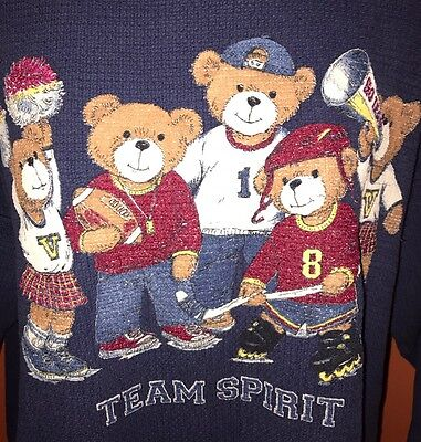 VTG Fairy Kei 90s~SPORTY CHIC~Oversize Blue Varsity Teddy Bears Sweatshirt L/XL