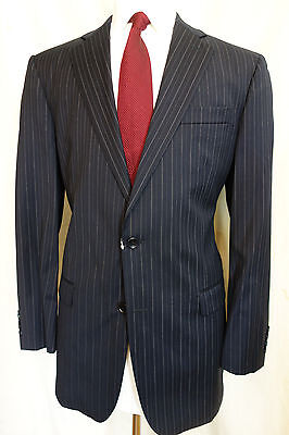 NWOT Brooks Brothers 1818 Madison Navy Pinstripe Saxxon Wool Suit 42L MSRP $1098