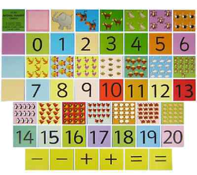 Animal Number Cards 0 - 20 flash cards