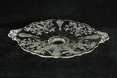 Cambridge Glass Rose Point Etch 2 Handled Low Footed Plate # 3900/131 Elegant