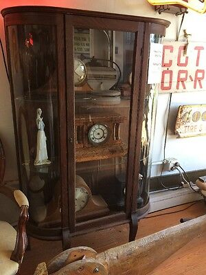 Antique Curio Cabinet with Curved Glass