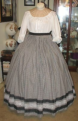 Civil War Dress~Victorian Style Black & White Gingham Skirt With Ds Waist