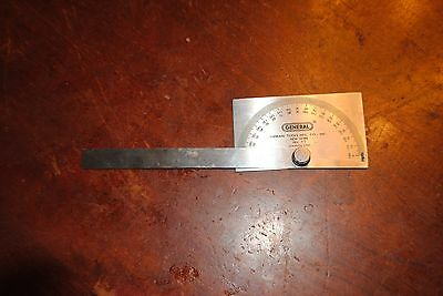 Vintage GENERAL No. 17 Machinist Square Head Stainless Steel Protractor 0°-180°