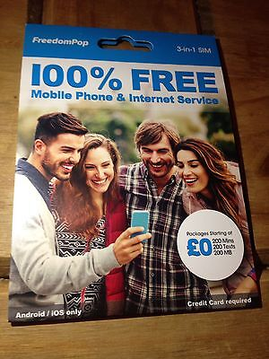 FreedomPop Everything Pack Starting At 0£ New SIM Card 1st Class Free Delivery