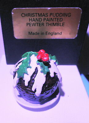 Christmas Plum Pudding Pewter Thimble- Made In England