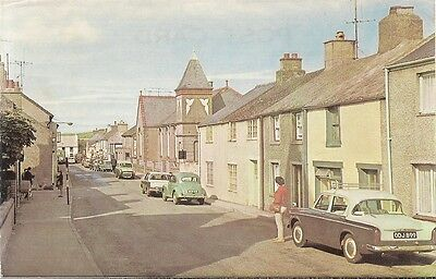 RARE OLD POSTCARD - HIGH STREET - CEMAES BAY - ANGLESEY C.1968 Vintage Cars
