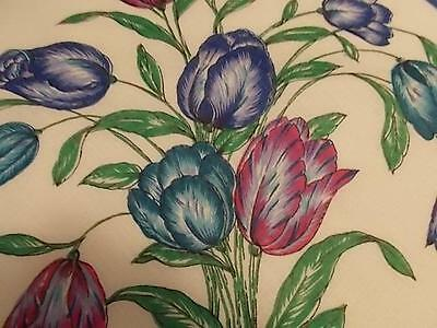 BURMEL Linen Handkerchief Large Bouquet of Blue and Purple Tulips Never Used