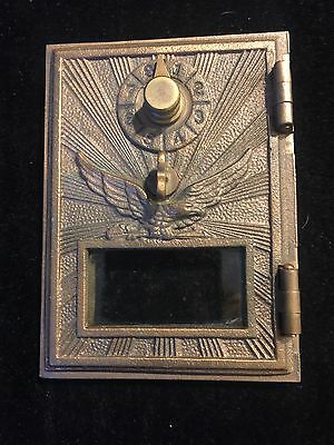 Vintage Art Deco Brass US Post Office Box Door with Eagle & Glass