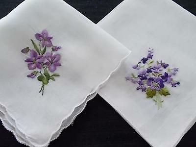 Sweet Violets! 2 Vintage Handkerchiefs with Embroidered Violets