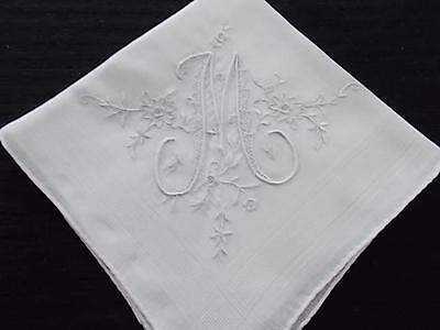 Vintage Linen Handkerchief Monogram  M - Beautiful Embroidery Perfect for Bride!