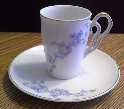 Napco China Hand Painted Demitasse White & Blue Floral Cup & Saucer Set