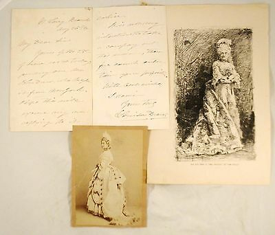 Louisa Drew Photo, Etching & Letter, singer & stage celebrity mid 19th century