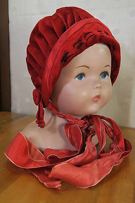 Early 1900s  CHILDS * RED * VELVET HAT Bonnet  CLOCHE * Adorable! Smiling Beauty